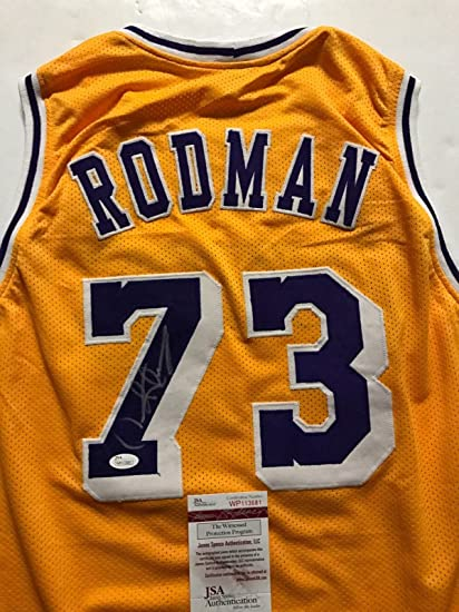 edeaddbf7f5 Autographed Signed Dennis Rodman Los Angeles LA Lakers Yellow Basketball  Jersey JSA COA at Amazon s Sports Collectibles Store