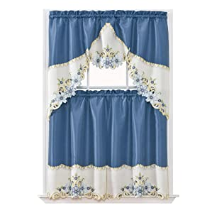 GOHD Golden Ocean Home Decor Arch Floral Kitchen Cafe Curtain Set. Window Treatment Set for Small Windows. Nice Matching Color Floral Embroidery on Border with cutworks (Riverside Blue)