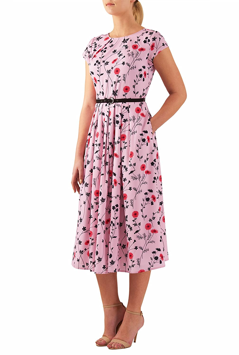 1940s Day Dresses Pleat neck belted floral print crepe dress $62.95 AT vintagedancer.com