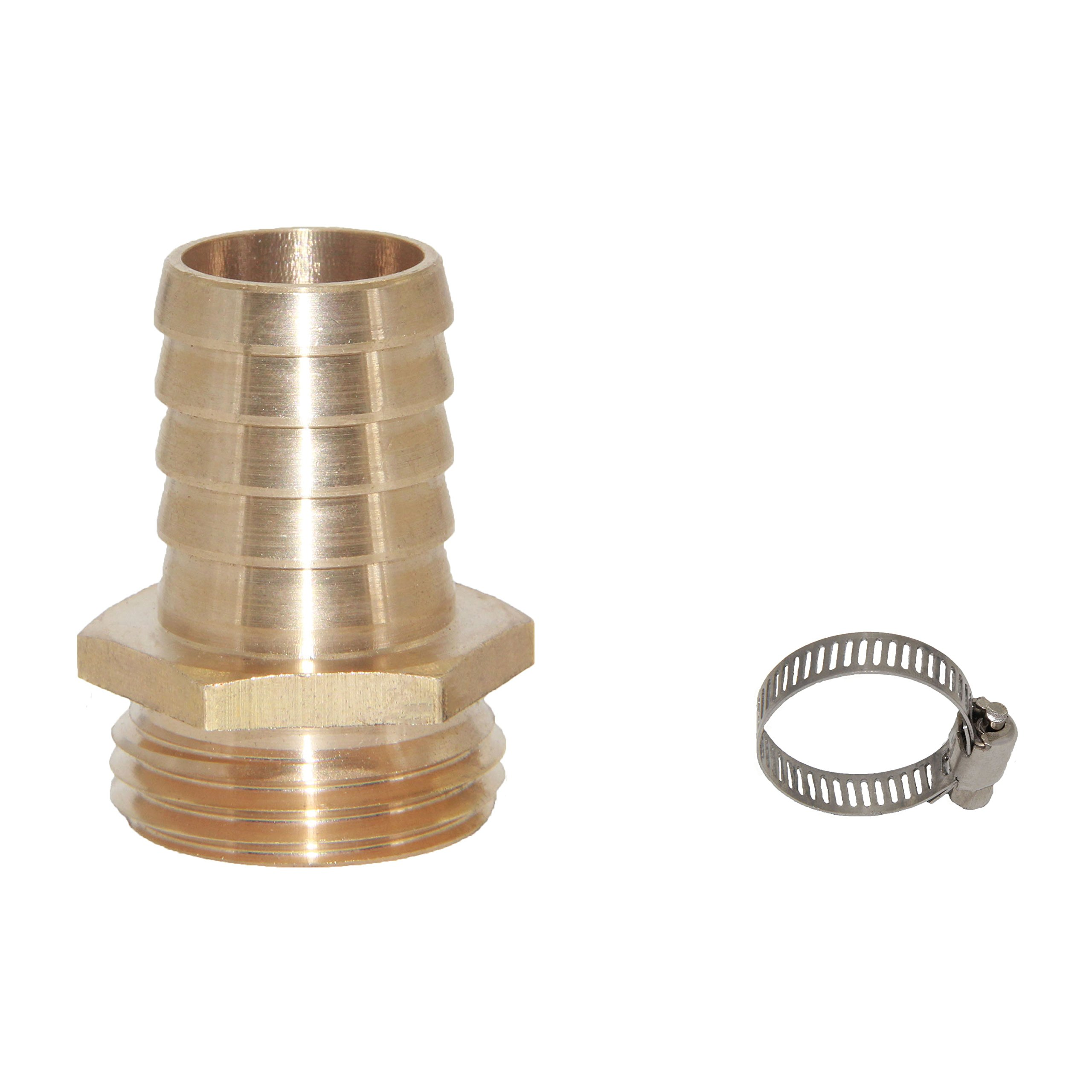 Joyway 3/4'' Barb x 3/4'' Male GHT Thread Hex Brass Garden Water Hose Pipe Connector Copper Fitting with Stainless Clamp House/Boat / Lawn/Power Wash/Irrigation