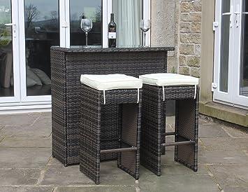 Rattan Outdoor 2 Seat Bar Table & Stool Set Garden Furniture in ...