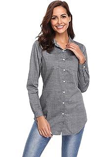 6dafc12bce Argstar Women s Long Chambray Shirt Button Down Tunic Long Sleeve Blouse  Jeans Top (XS~