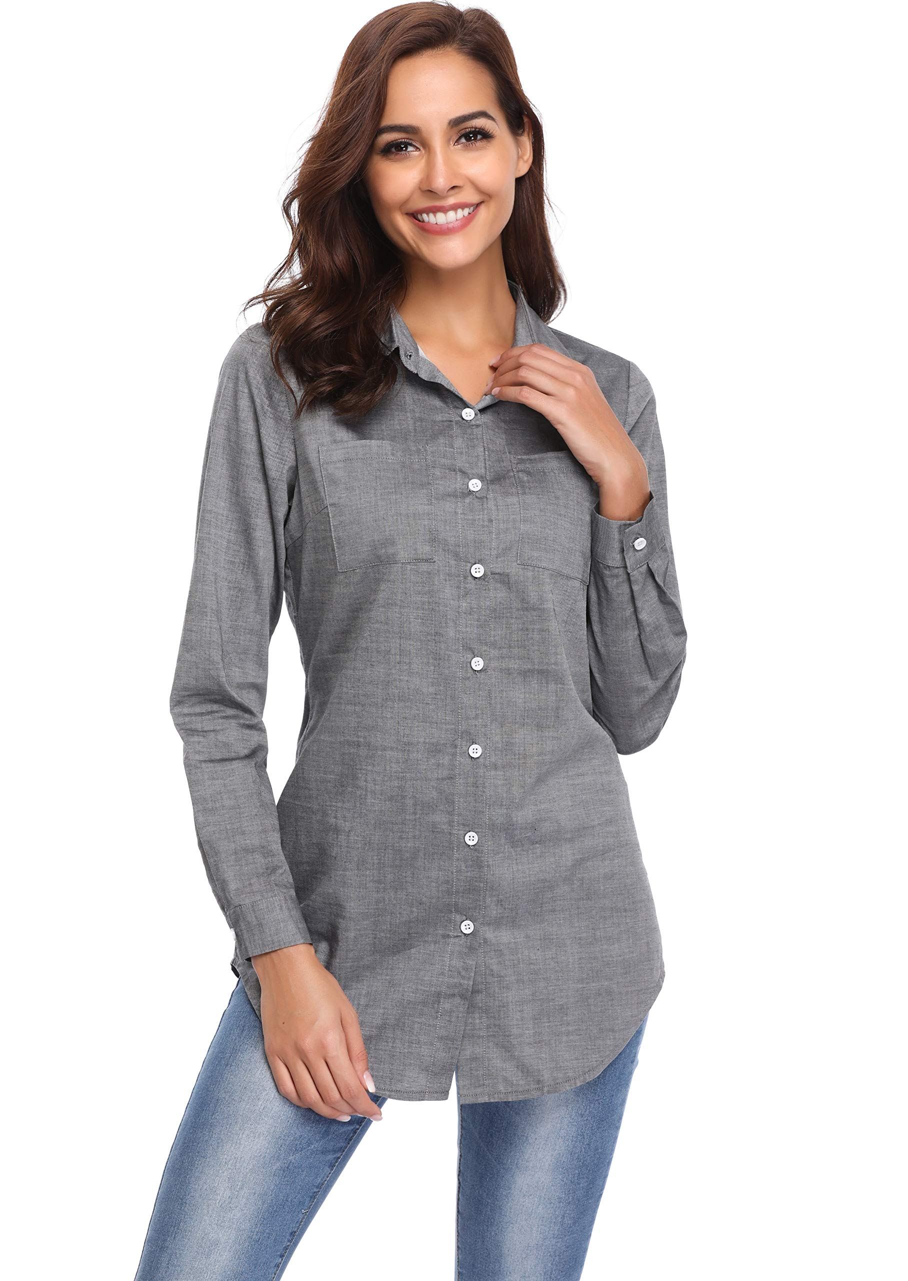 Argstar Women's Chambray Button Down Shirt Long Sleeve Jeans Top,Gray,Large (US 12-14) by Argstar (Image #1)