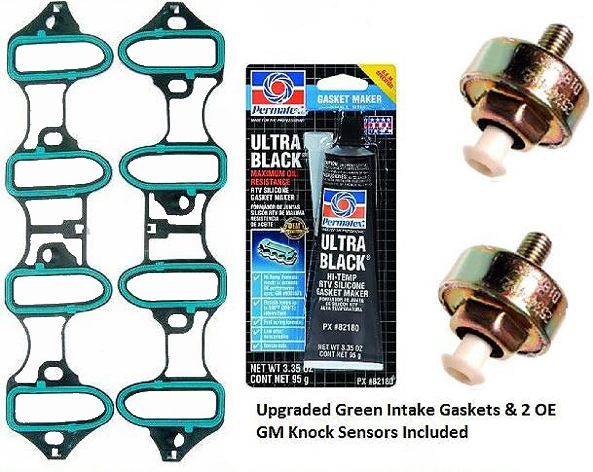 APDTY 89060413-TSB2 Intake Manifold Leak Repair Kit Includes Upgraded Green Gaskets 2 Knock Sensors & Sealant (All ACDelco Parts; Bolts Not Included; Repairs TSB 02-06-04-023A; Solves DTC P0332) by APDTY