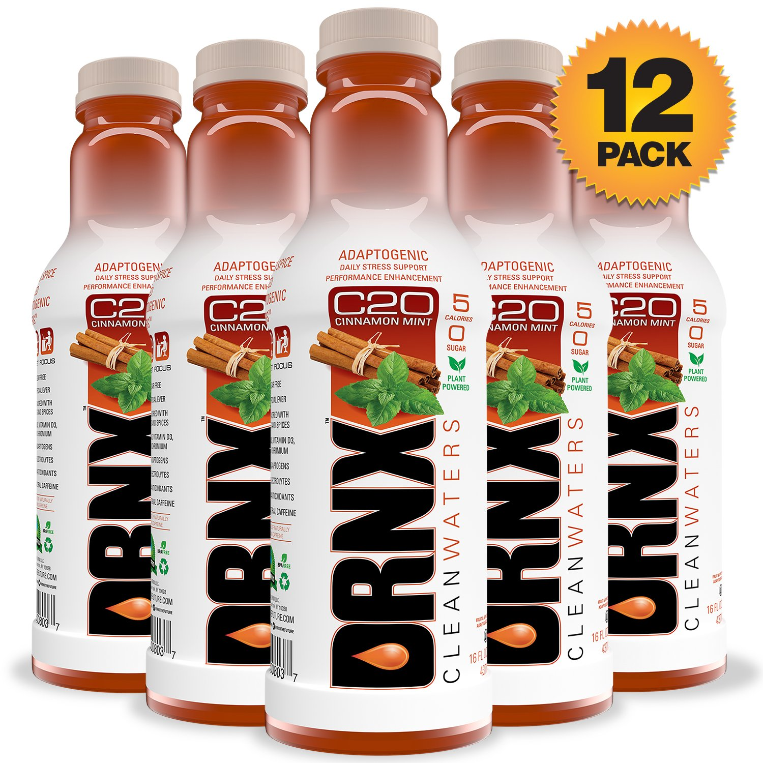 DRNX Sugar Free Fruit and Spice Infused Adaptogenic Water, Cinnamon Mint - 16 Fluid Ounce Bottles, 12 Pack