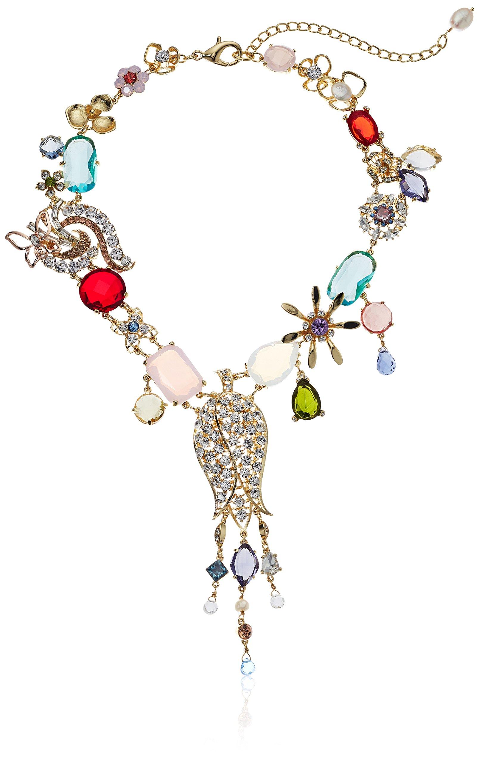 Badgley Mischka Women's Multi Flower & Fringe Gold Ribbon Necklace, One Size