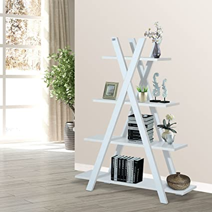 4 Tier A Frame Bookcase Display Storage Rack Ladder Bookshelf Home Shelving Unit White