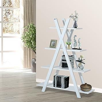 Amazon.com: 4-Tier A Frame Bookcase Display Storage Rack Ladder ...