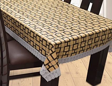 Yellow Weaves Plastic Waterproof Table Cover for 6 Seater (60x90-inches, Brown)