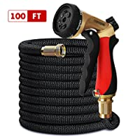 Crenova 100ft garden hose Expandable Hosewith Double Latex Core, Solid Brass Connector, Expanding Garden Hose with 7 function metal spray nozzle