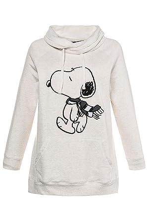 Ulla Popken Damen große Größen bis 64, Sweatshirt mit Snoopy Motiv, Weiter Stehkragen, Kängurutaschen, Lange Ärmel, 713598