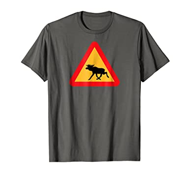 Amazon Svenska Swedish Moose Crossing Sign Sverige Gift T Shirt Clothing