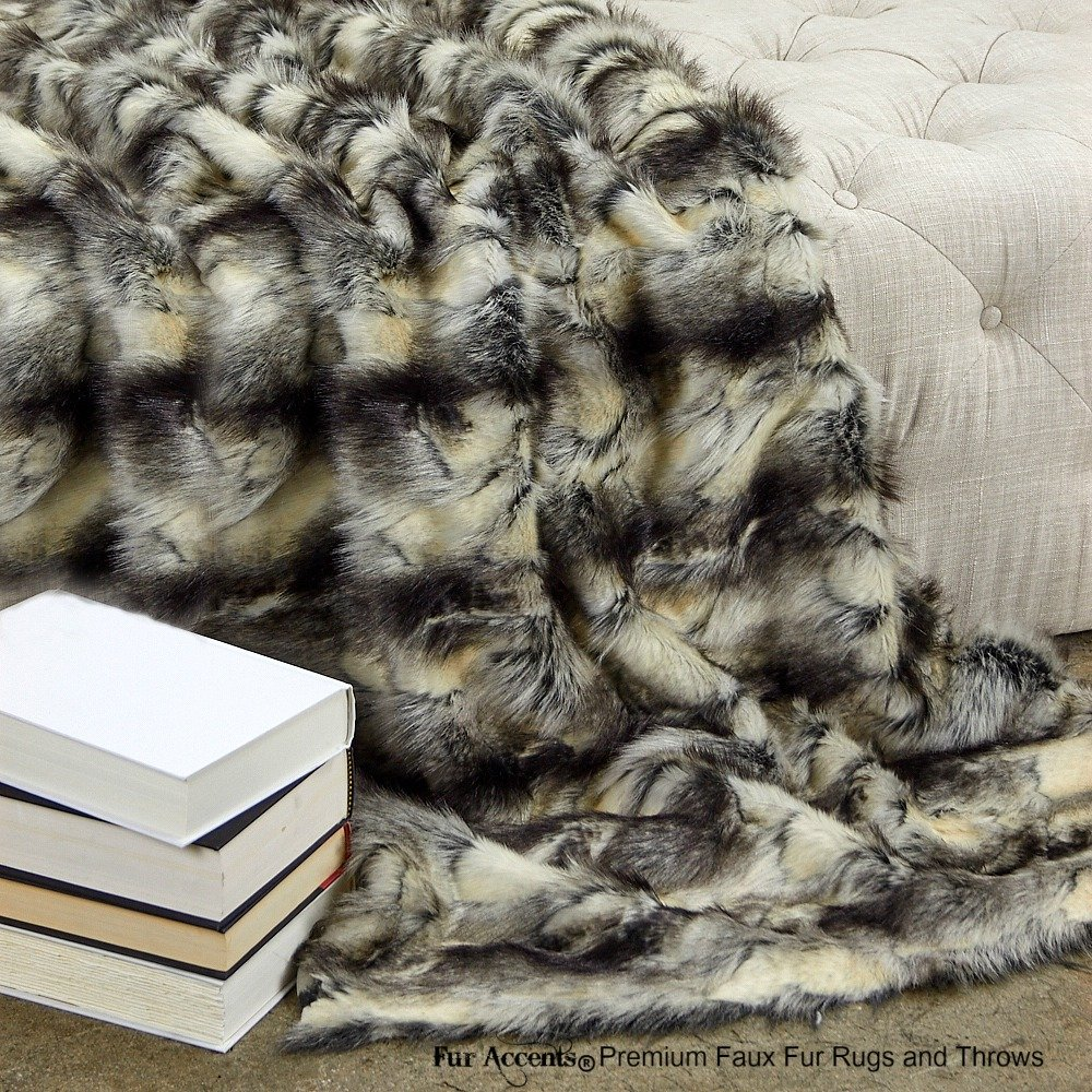 Fur Accents Throw Blanket Warm White Gray and Black Patch Fox Faux Fur /60'' X 70'' (5'x6')