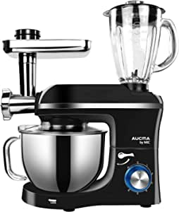 MIC Stand Mixer 3 in 1 Multifunction Mixer 5.5L Large Capacity Electric Meat Grinder Juice Blender 1100W Durable Kitchen Mixing Machine - Black