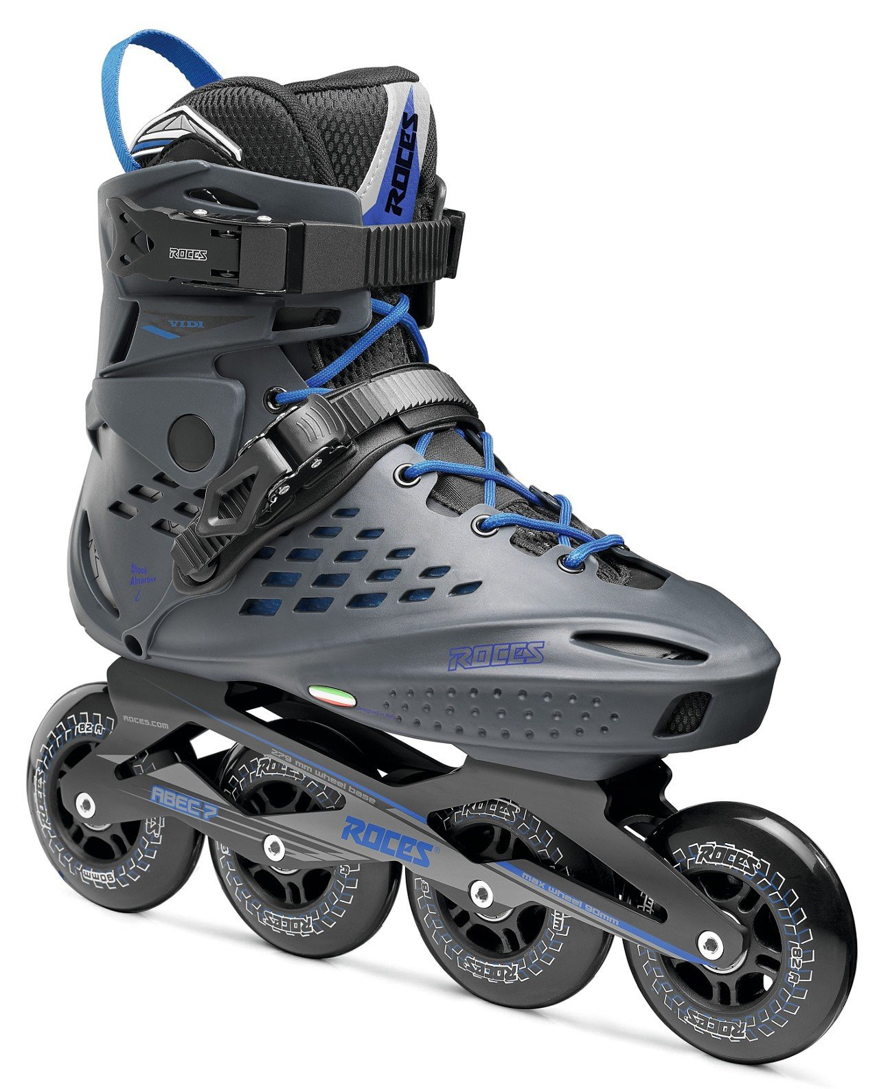 Roces 400470 Men's Model Vidi Fitness Inline Skate, US 12, Charcoal/Strong Blue