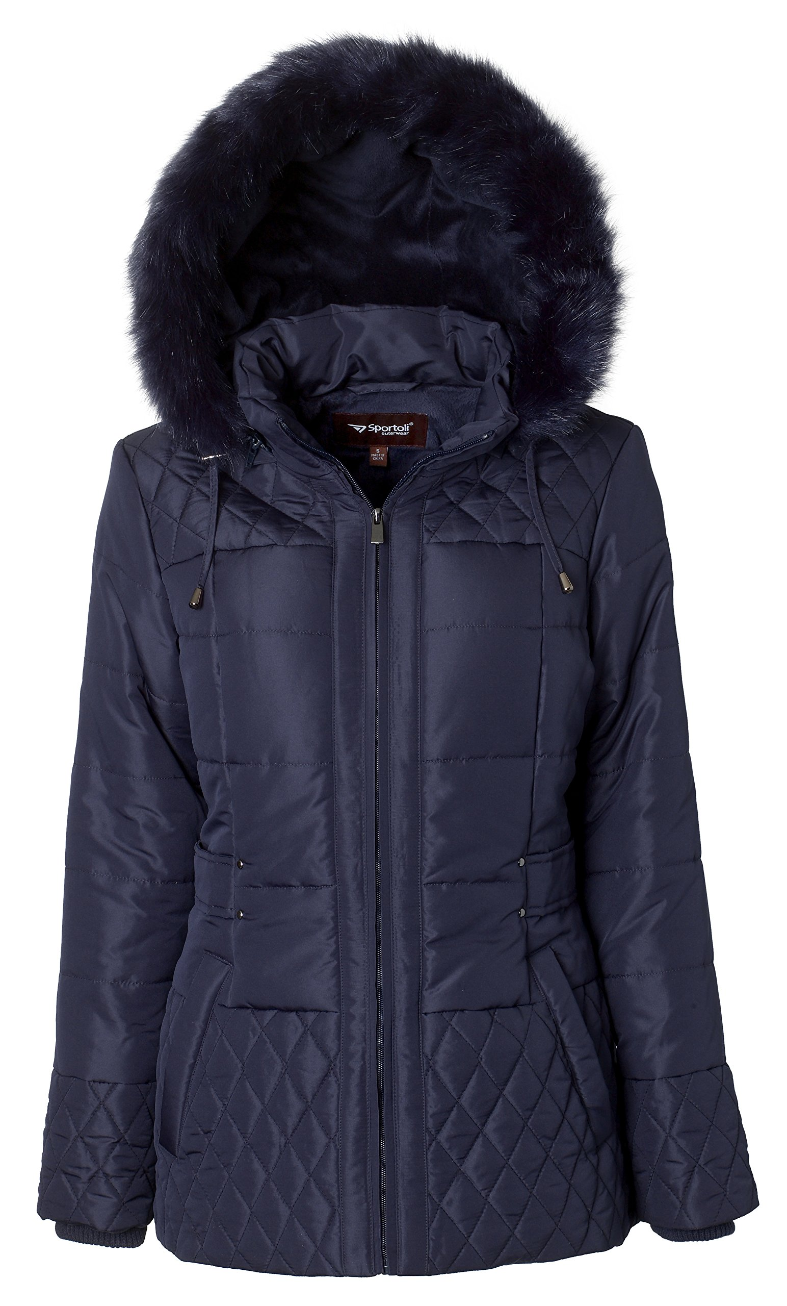 Sportoli Women's Midlength Quilted Trim Down Alternative Plush Lined Puffer Coat with Zip-off Fur Trim Hood - Stormy Night (2X)