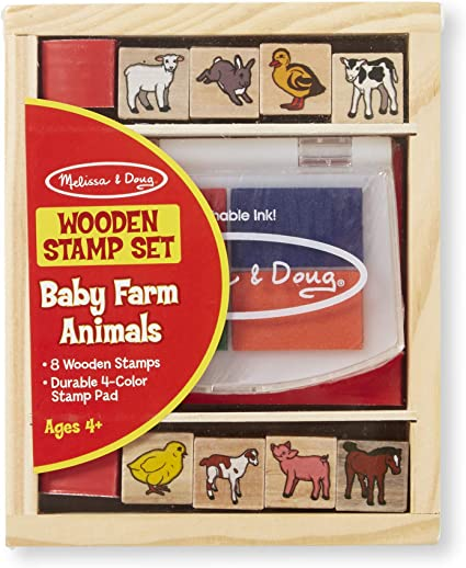 MELISSA /& DOUG KIDS WOODEN MY FIRST STAMP SET /& INK PADS FARM ANIMALS NEW 3+