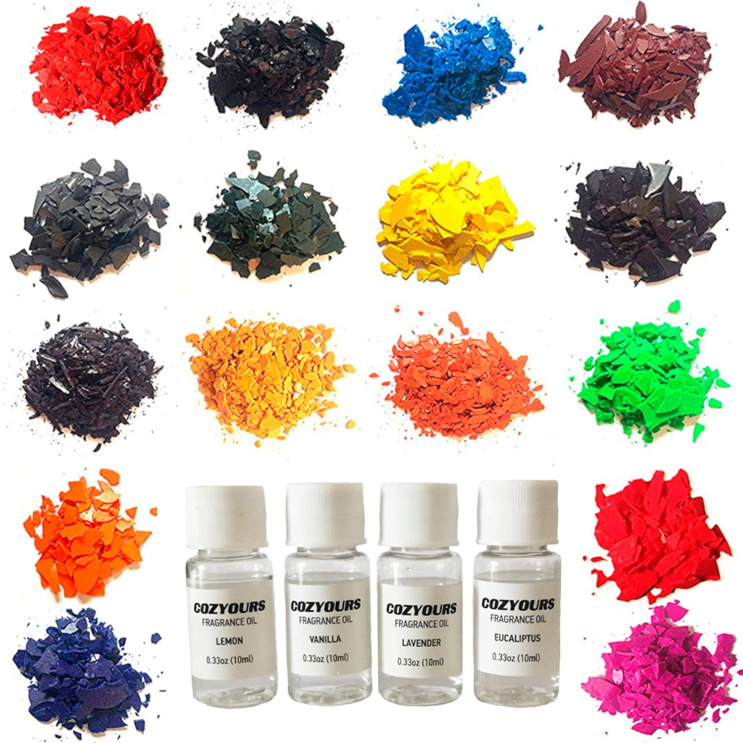 CozYours Coloured Candle Wax Dye Chips & Fragrance Oils, 16/4 pack   B07CQ4QVSY