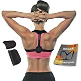 Back Posture Corrector for Women and Men by LineSpine, Adjustable (28 – 48 Inches) Posture Brace, Effective Posture Support & Clavicle Brace with FREE 2 Detachable Pads for Extra Comfort, Black