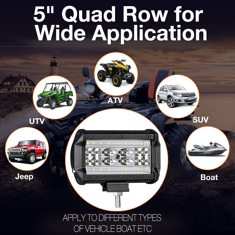 168W Led light pods,2Packs 5 inch 168W Quad-Row Light Bar Spot Flood COMBO Beam Offroad Cubes Work Lights Driving Fog Lamps For Pickup Trucks Jeep ATV UTV SUV Boat Marine-Waterproof JAHURD
