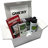 Nintendo® GameBoy Retro – Geschenkbox | Super Mario Gagdet Sticker, Notizbuch, Trinkflasche, Spardose im Game Boy Classic Look