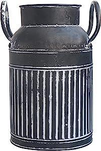MISIXILE Metal Galvanized Milk Can Rustic Farmhouse Vase, Decorative Shabby Chic Pitcher Vase for Home Decor 8.3