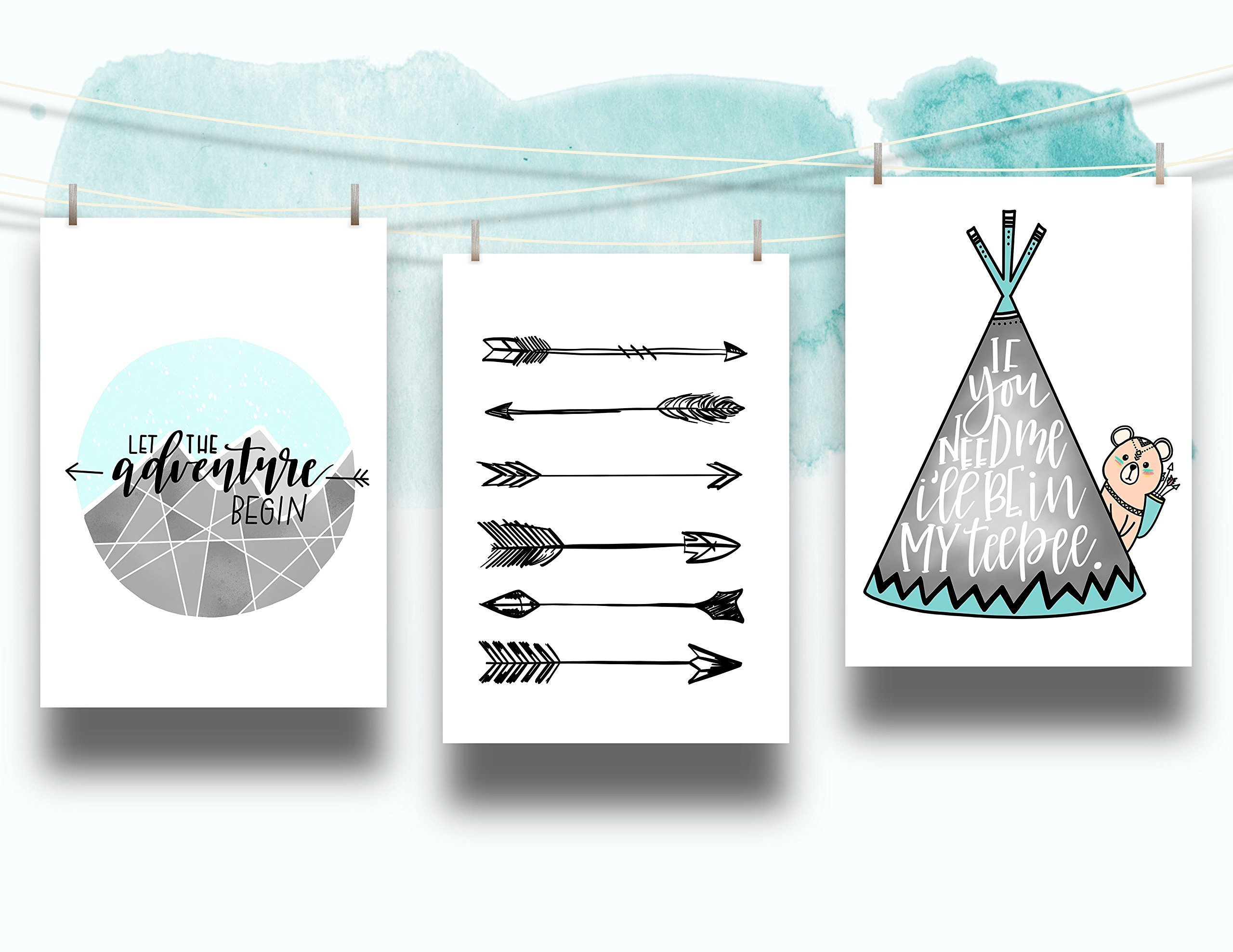 Set of 3 Teepee Adventure Nursery Cardstock Prints - 8.5 x11'' ''Let the Adventure Begin'' ''Arrow'' ''If You Need Me I'll Be In My Teepee'' by June & Lucy
