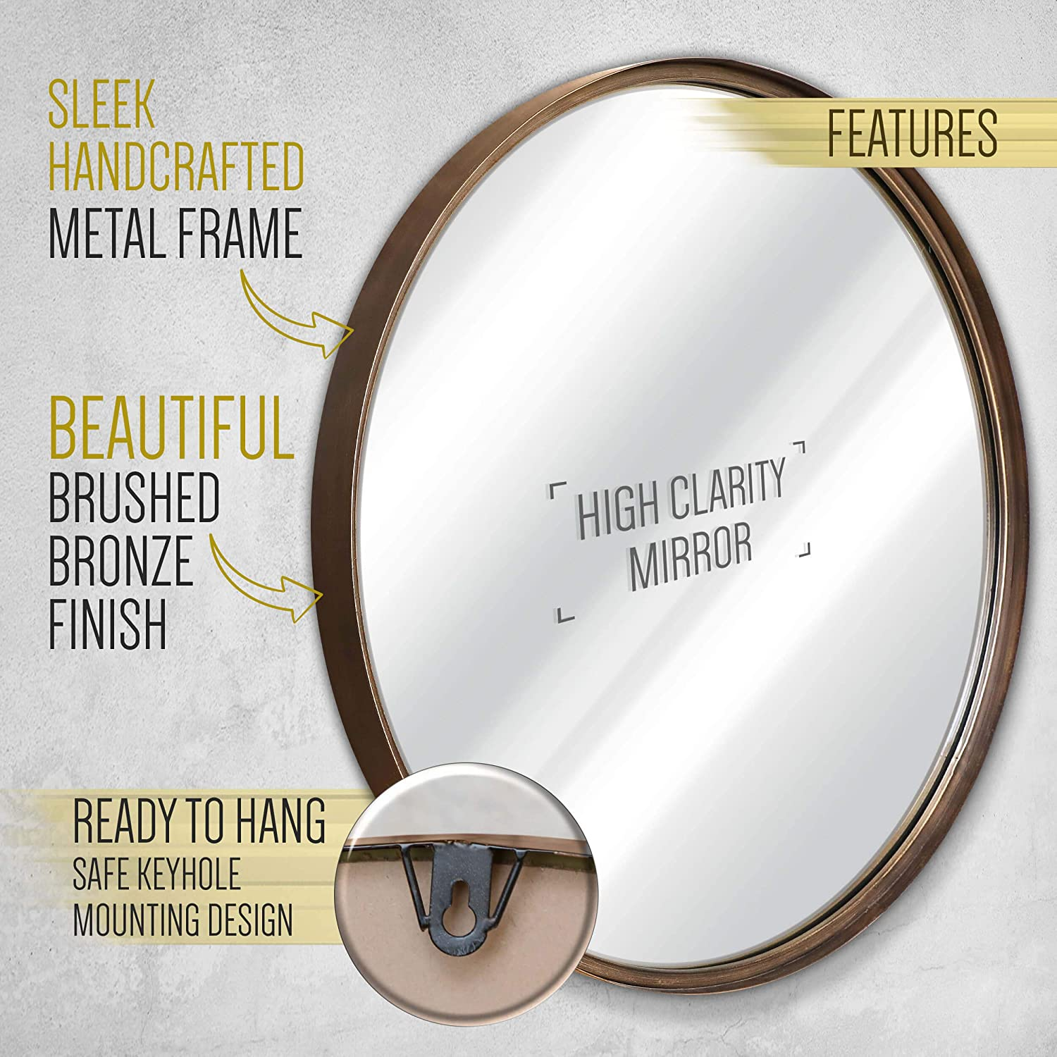 27.5 Large Round Mirror – Beautiful Brushed Gold Bronze Wall Mirror – Handcrafted Oil Rubbed Circle Mirror – Metal Framed Decorative Mirrors For Wall – Hanging Mirror – Large Circular Wall Mirror
