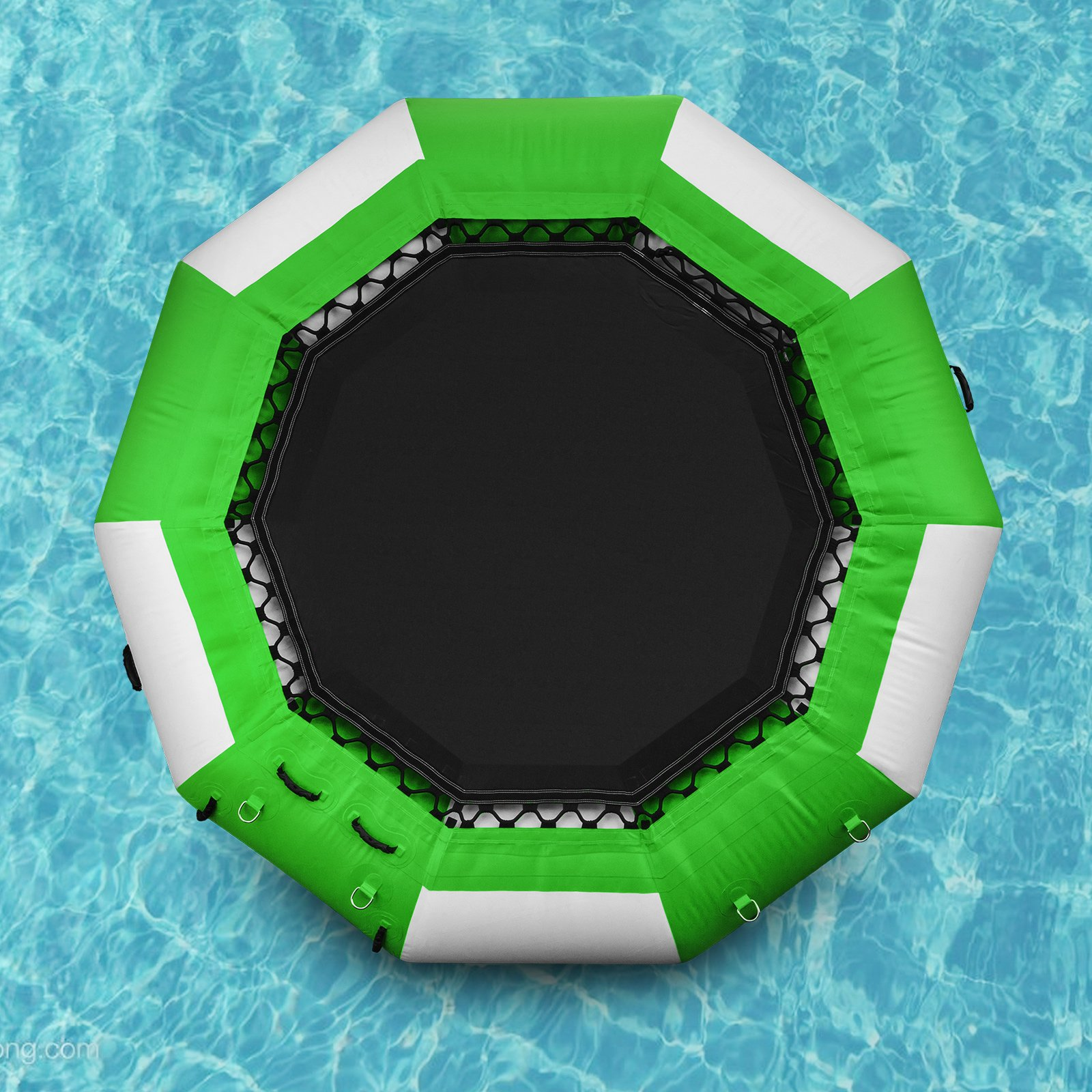 Popsport Inflatable Water Trampoline Series Splash Padded Water Bouncer Inflatable Bouncer Jump Water Trampoline Bounce Swim Platform for Water Sports (Green, 10Ft) by Popsport
