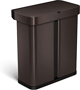simplehuman Dual Compartment Can Recycler with Voice and Motion Sensor Trash Receptacles, 58 L/15.3 Gallon, Dark Bronze Stainless Steel