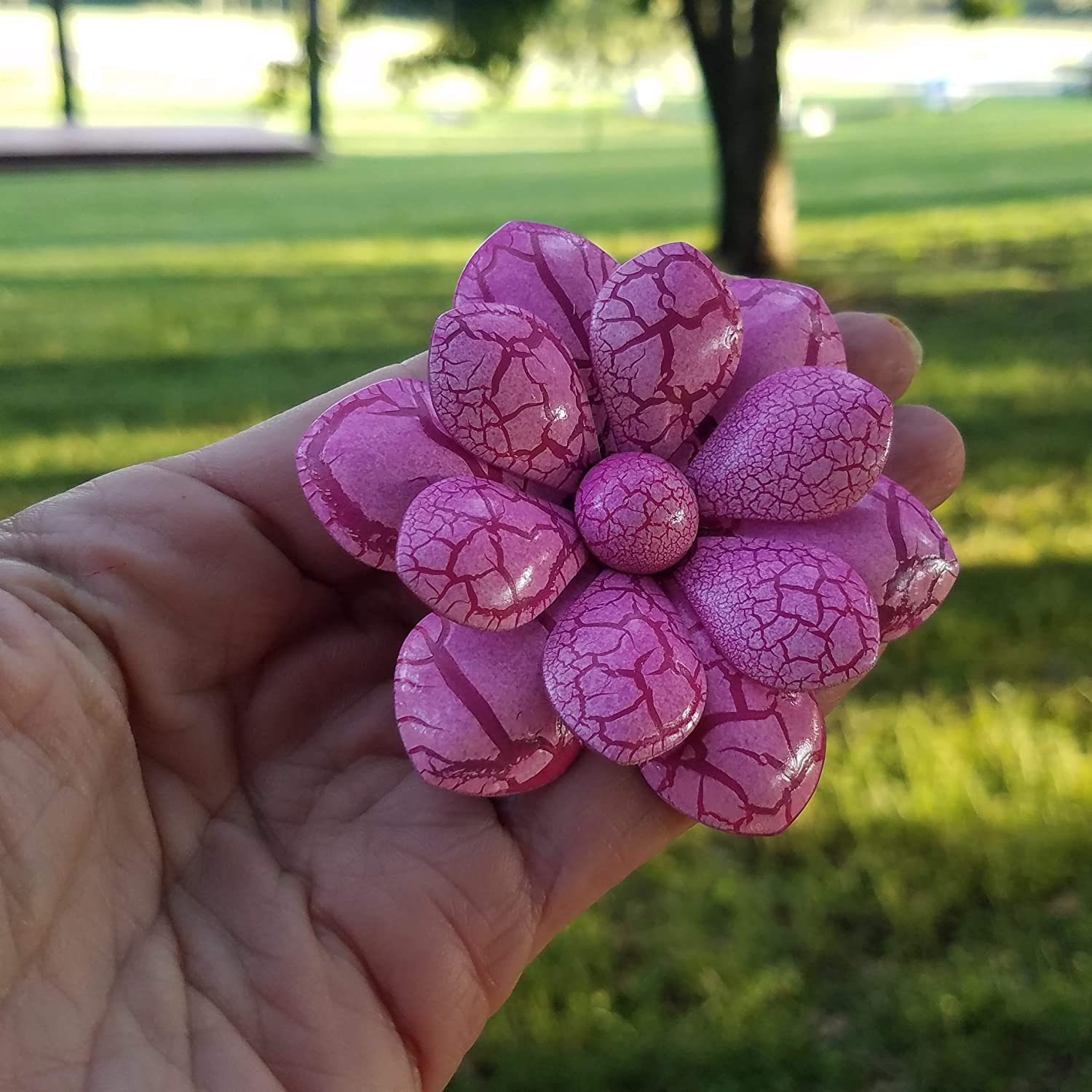 Large Pink Crackled Enamel Flower Brooch