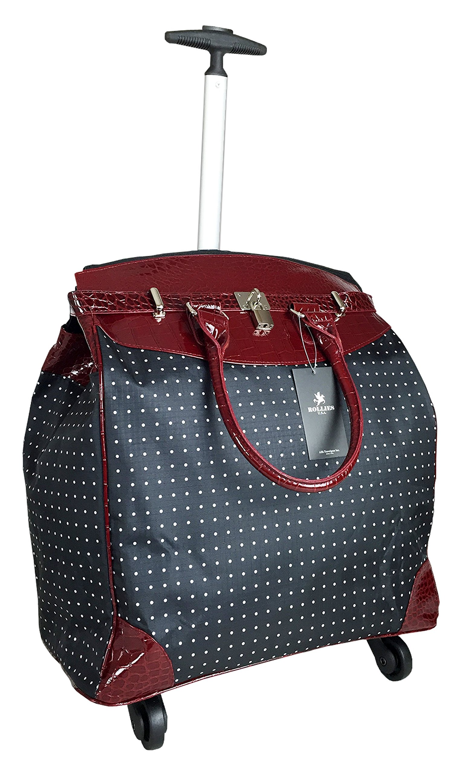 Trendy Flyer Computer/Laptop Rolling Bag 4 Wheel Case Polka Dots Red
