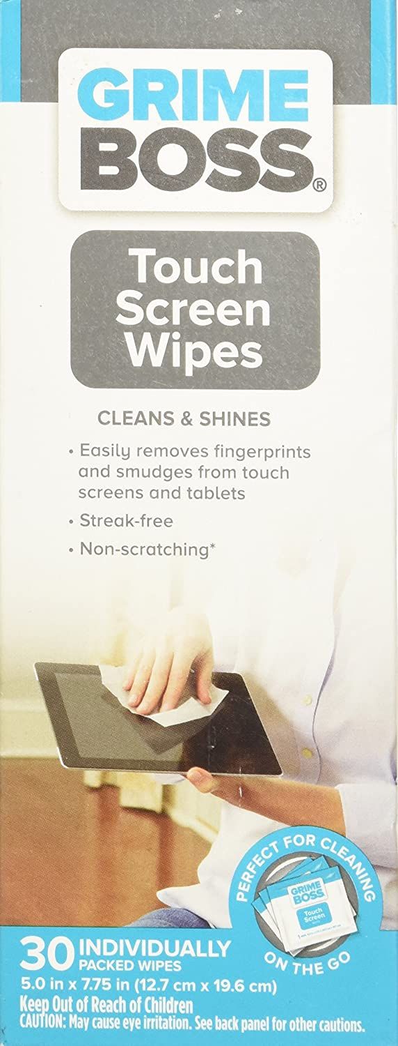Grime Boss Touch Screen Wipes, 30Count