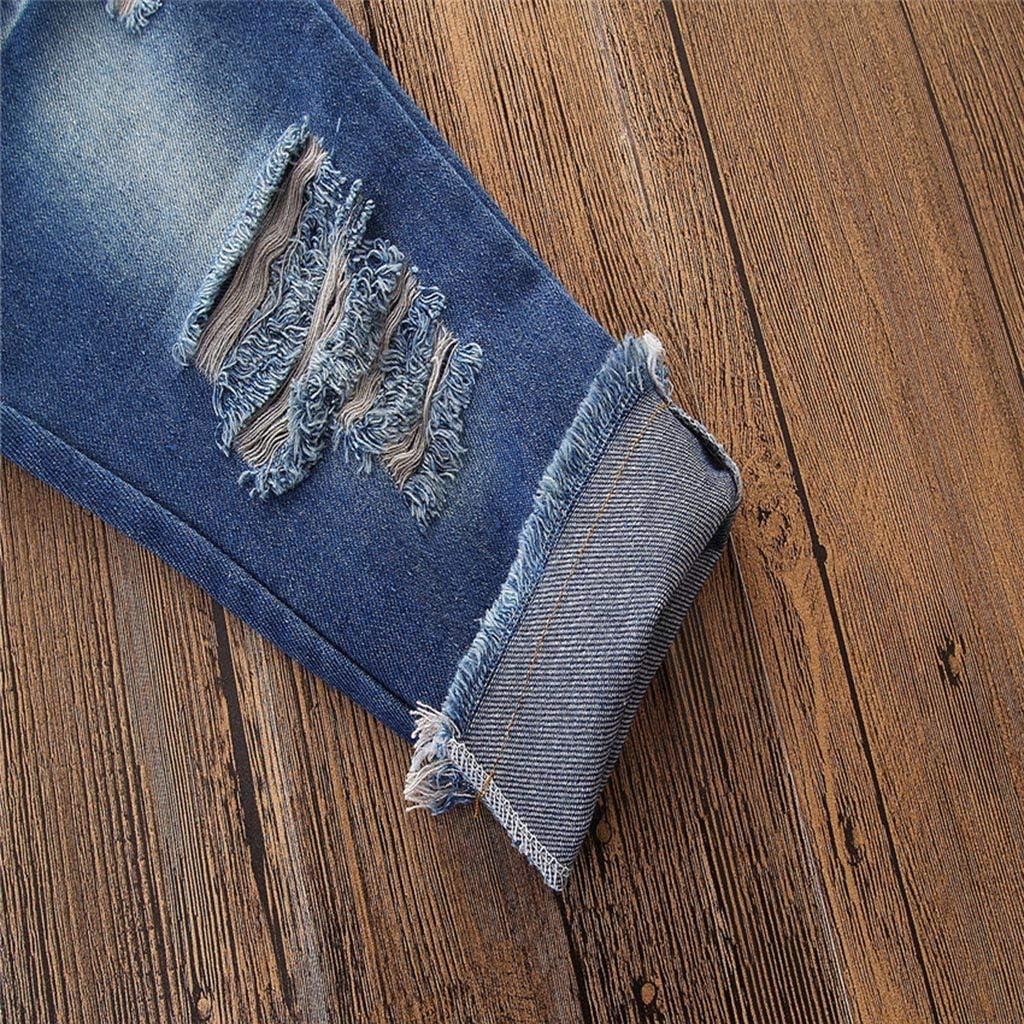 Daoope Abbigliamento Bambino Estate Abiti Cerimonia Bambino 1 2 3 4 7 8 Anni Vestiti Completino Bambino Ragazza One-Word Spalla Sling Top Rotto Jeans Due Pezzi Set