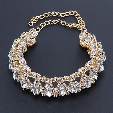 3cb8dc4a37 Amazon.com: Geetobby Stylish Full Crystal Diamond Rhinestone Choker Collar  Necklace Silver Party Jewelry: Jewelry