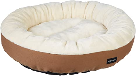 Amazon Com Amazon Basics Round Bolster Dog Bed With Flannel Top 20 Inch Brown Pet Supplies