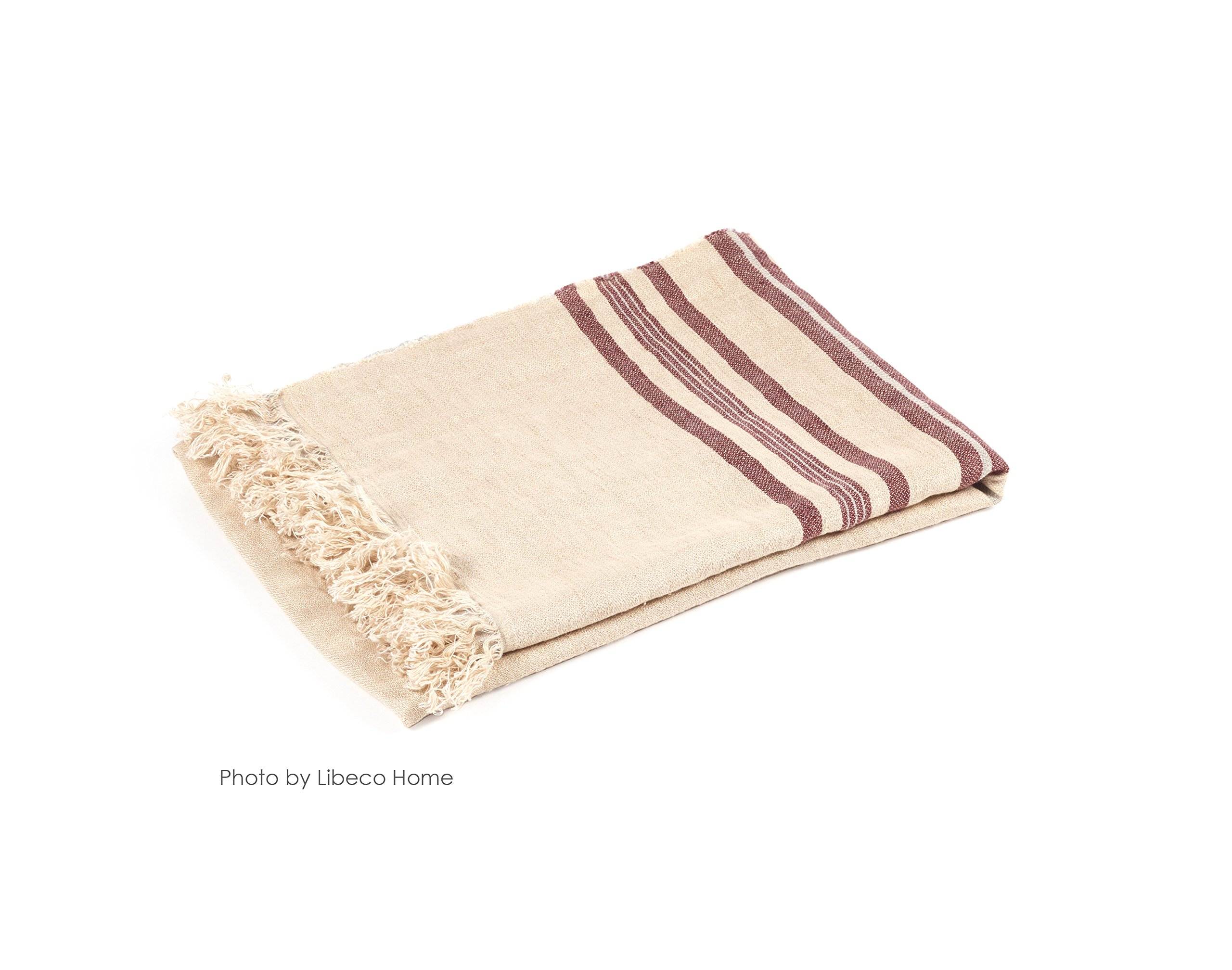 Libeco The Belgian Towel 100% Linen Fouta Towel in Camel Stripe 43'' x 71'' by Libeco