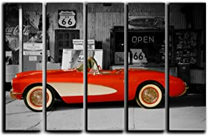 Large 5 Piece Vintage Corvette Wall Art Decor Picture Painting Poster Print on Canvas Panels Pieces - Sports Car Theme Wall Decoration Set - Route-66 Wall Picture for Showroom 35 by 55 in