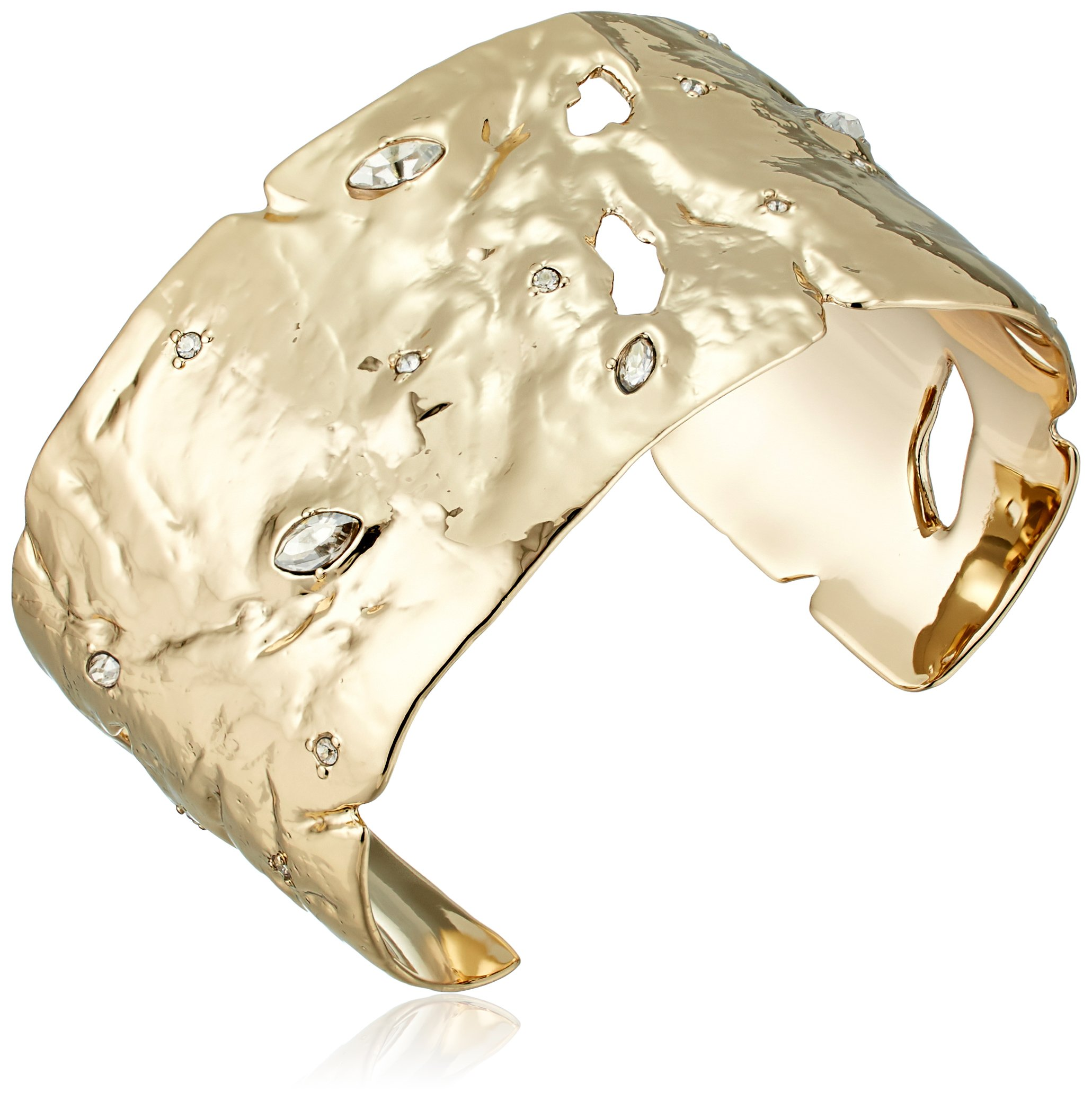 Alexis Bittar Fall 2017 Textured with Crystal Accent 10k Gold Cuff Bracelet