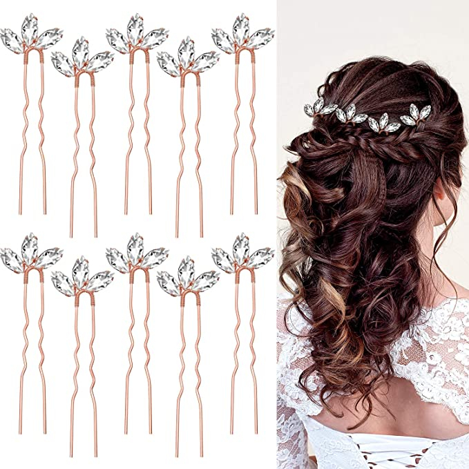 10 Pieces Crystal Wedding Hair Pins Rhinestone Bridal Hair Clips Pins for Bride Bridesmaids Women (Rose Gold)