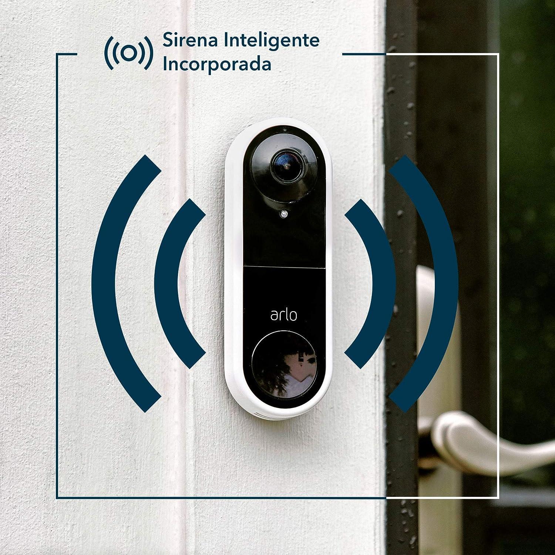 Llamada Directa al M/óvil Arlo Video Doorbell Video en HD 1080p Sirena Inteligente AVD1001 App Smart visi/ón d/ía y Noche Campo de visi/ón ampliado del 25 /%