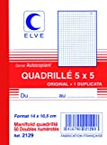 ELVE Manifold Autocopiant Quadrillé 5 x 5 140 x 105 mm 50 Feuillets Dupli