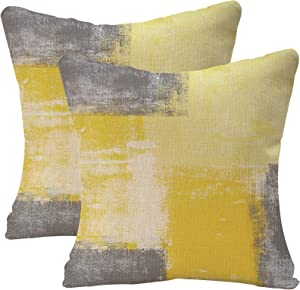 Taeamjone Yellow Grey Throw Pillow Covers, Modern Pillow Cover Home Decor Cushion Cover for Sofa Bed Living Room Bedroom, 18 x 18 inches