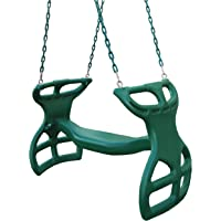 Gorilla Playsets 04-0037-G Dual Ride Glider Back-to-Back Tandem Swing, Green, Green Plastic Coated Chains, Multi-Child Swing