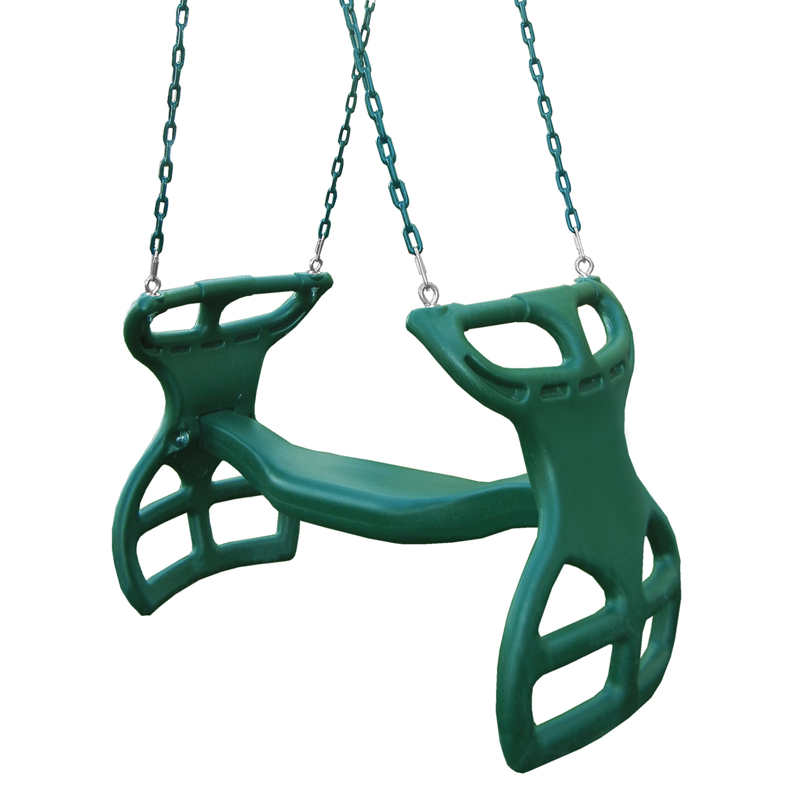 Swing-N-Slide WS 3452 Heavy Duty Two Person Dual Glider Swing, with Coated Chains to Prevent Pinching, 18'' W x 25 in H x 40'' L, Green by Swing-N-Slide