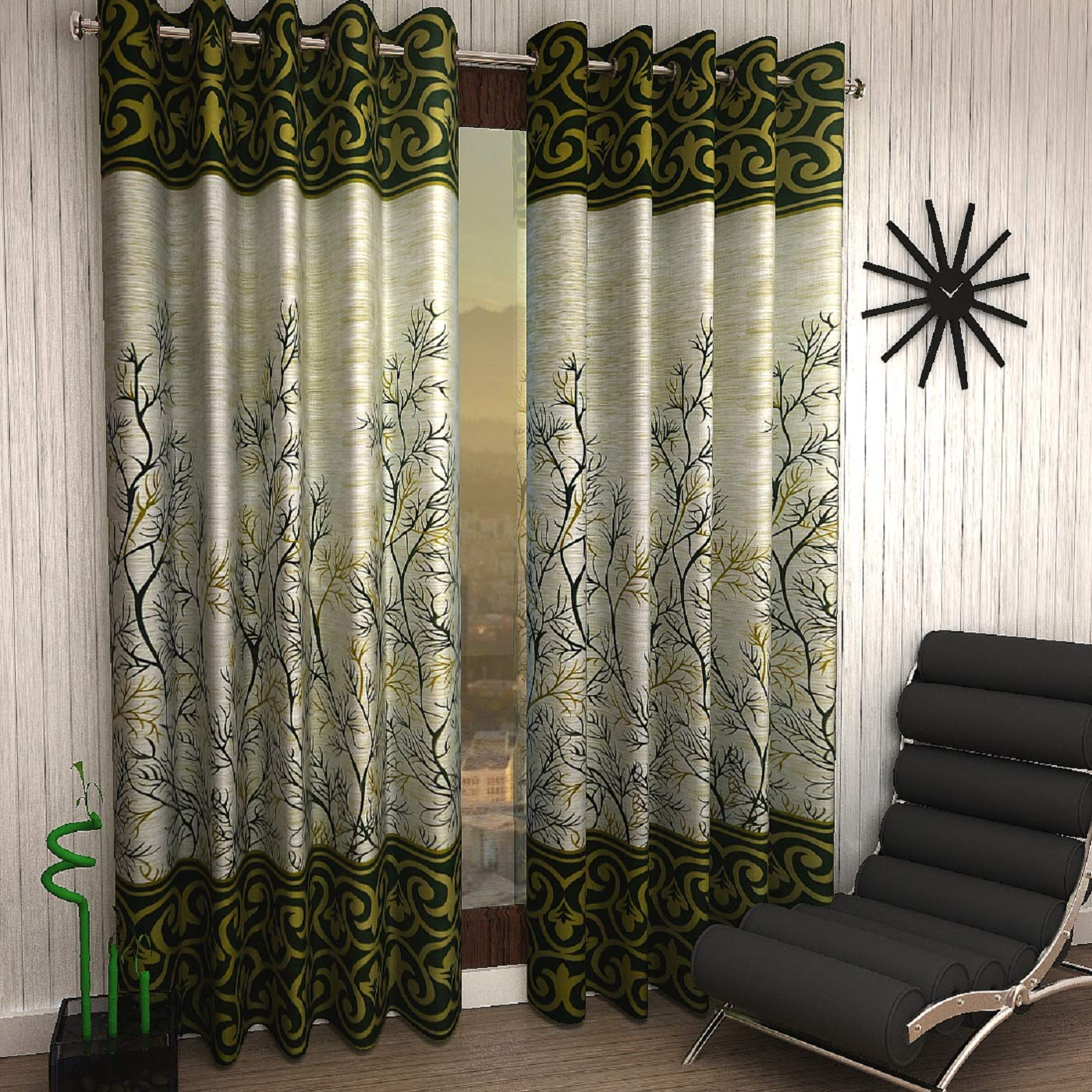 Home Sizzler 2 Piece Eyelet Polyester Door Curtain Set - 7ft, Green