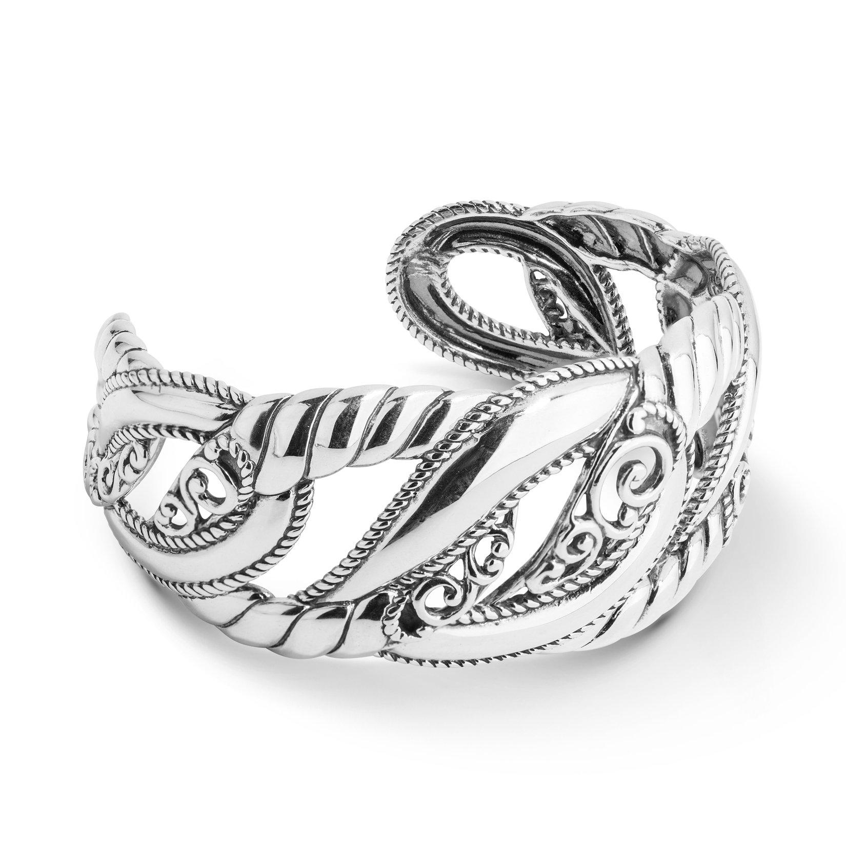 Carolyn Pollack Sterling Silver Filigree Bold Cuff Bracelet