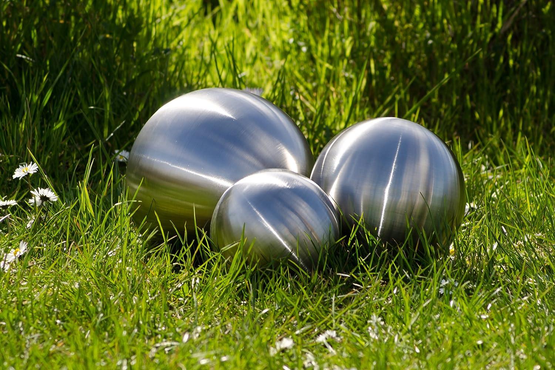 Köhko Set of 3 matt made of high quality stainless steel; Garden sphere, stainless steel sphere, pond sphere ø 6-9-12 CM