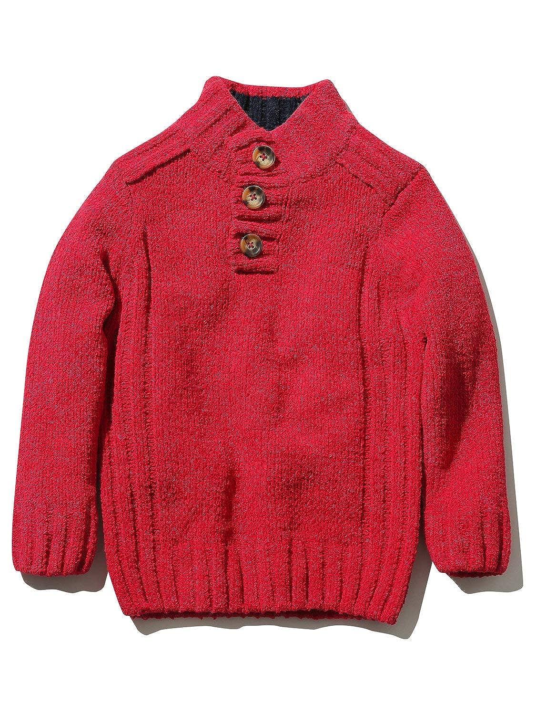 M& Co Boys Long Sleeve Plain Button Funnel Neck Chunky Soft Chenille Knit Jumper