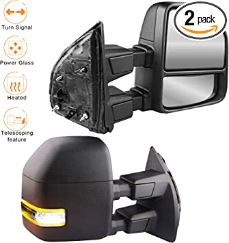Perfit Zone Towing Mirrors Replacement Fit for 2008-2016 FORD F-250 F-350 F-450 F-550 SUPER DUTY,POWER HEATED W//SMOKE SIGNAL,BLACK PAIR SET